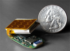 The STRIVA WiFi board size compared to a quarter